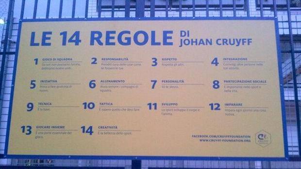 le 14 regole di Johan Cruijff